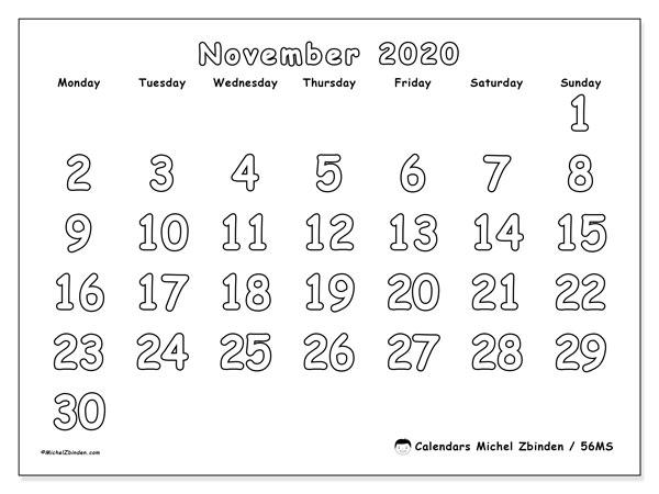 November 2020 Calendar, 56MS. Free printable monthly planner.