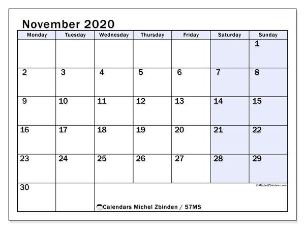 November 2020 Calendar, 57MS. Free bullet journal to print.
