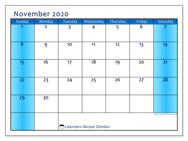 November 2020 Calendar, 58SS. Monthly planner to print free.