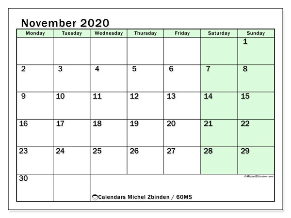 Calendar November 2020 - 60MS. Bright Green. Monthly Calendar and free printable timetable.