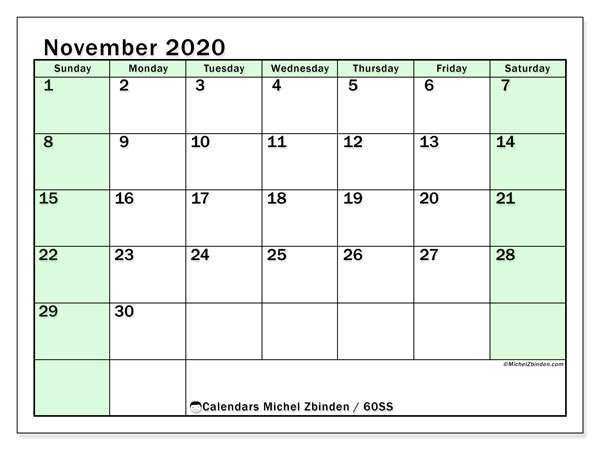 November 2020 Calendar, 60SS. Calendar for the month to print free.