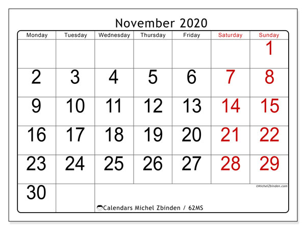 Calendar November 2020 - 62MS. Easy to read. Monthly Calendar and schedule to print free.