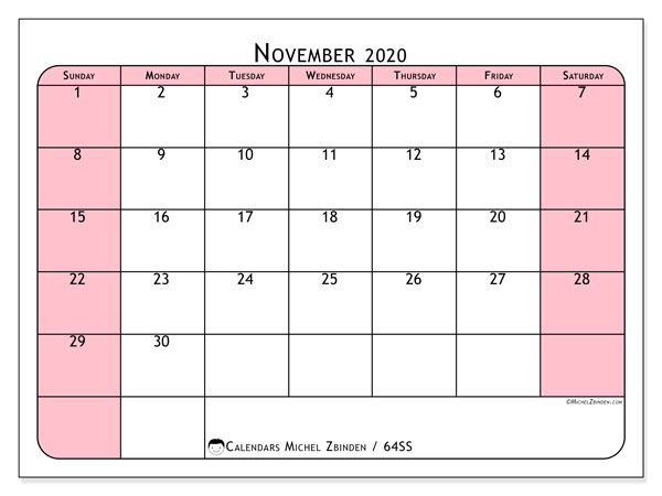 November 2020 Calendar, 64SS. Monthly calendar to print free.