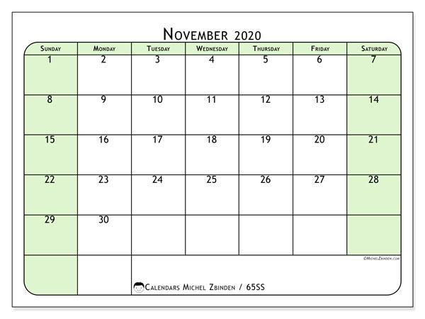 November 2020 Calendar, 65SS. Calendar for the month to print free.
