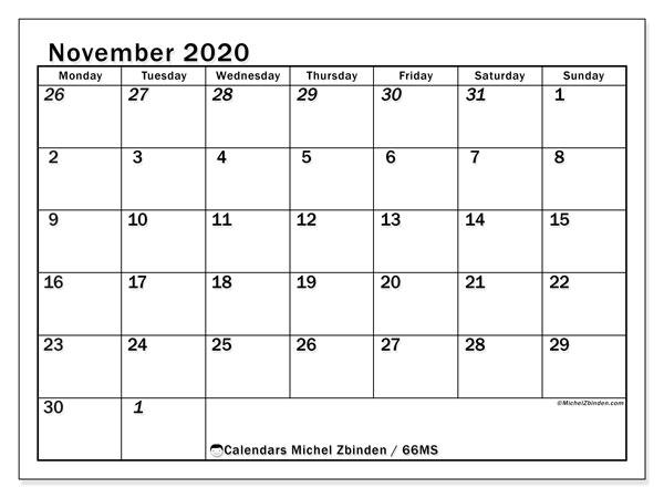 November 2020 Calendar, 66MS. Free printable monthly planner.