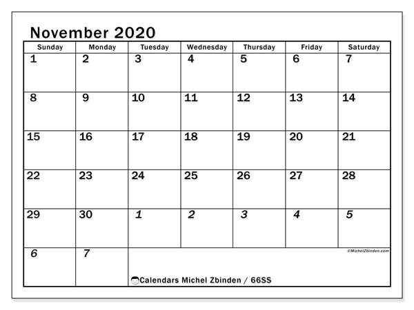 November 2020 Calendar, 66SS. Free printable bullet journal.