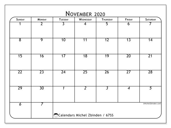 November 2020 Calendar, 67SS. Free printable calendar.