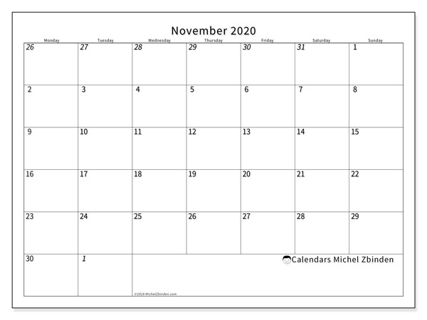 November 2020 Calendar, 70MS. Free printable planner.
