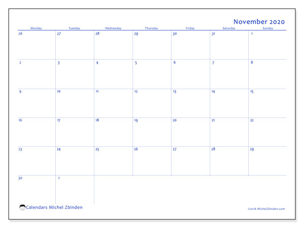 November 2020 Calendar, 73MS. Free planner to print.
