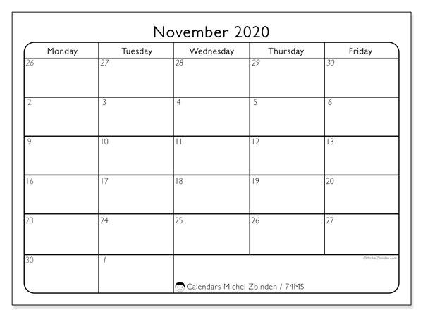 November 2020 Calendar, 74MS. Free planner to print.