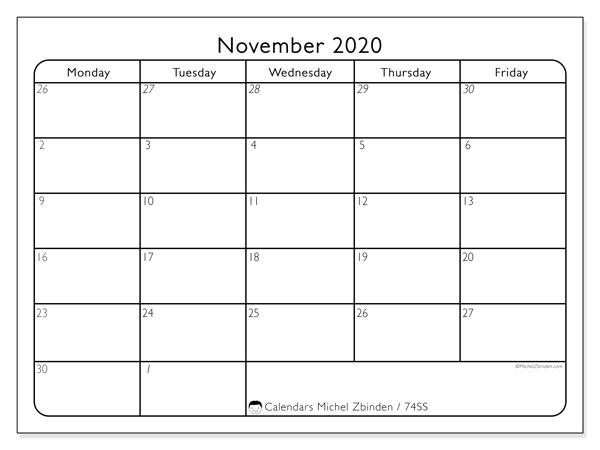 November 2020 Calendar, 74SS. Bullet journal to print free.