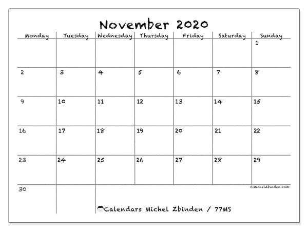 "Printable November 2020 calendar. Monthly calendar ""77MS"" and free planner to print"