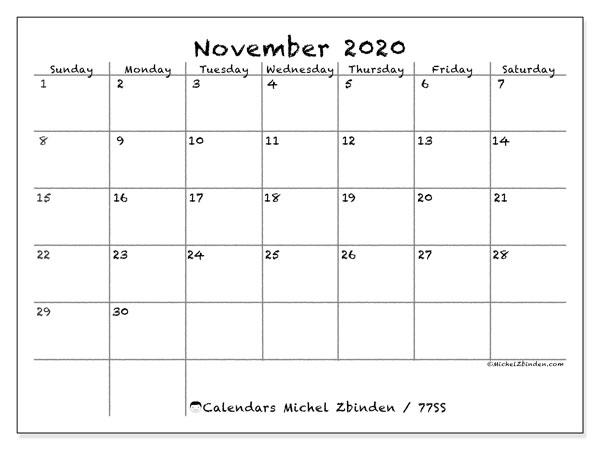 November 2020 Calendar, 77SS. Free calendar to print.