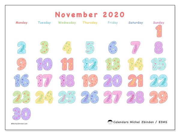 November 2020 Calendar, 83MS. Bullet journal to print free.