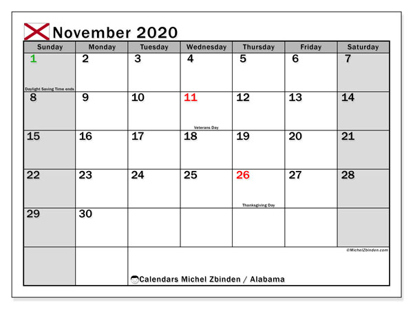 "Printable ""Alabama"" calendar with public holidays. Monthly November 2020 calendar and free bullet journal to print."