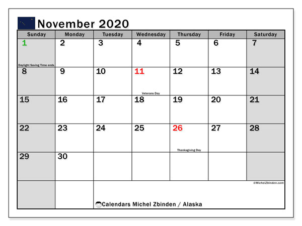 November 2020 Calendar, with the holidays of Alaska. Free printable calendar with public holidays.