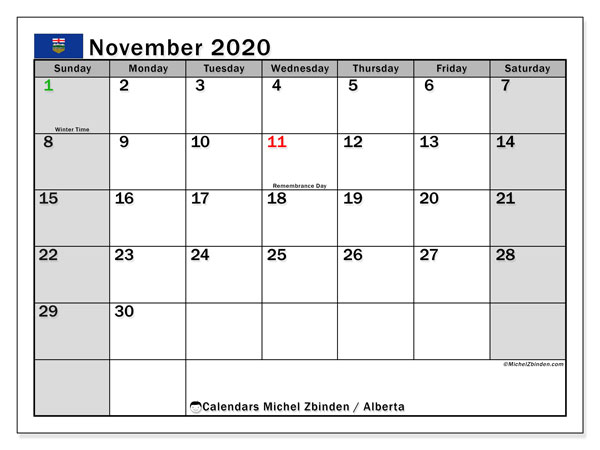 November 2020 Calendar, with the holidays of Alberta. Holidays calendar to print free.