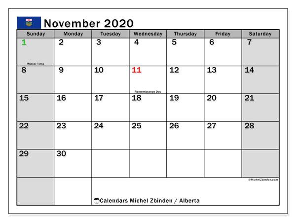 November 2020 Calendar, with the holidays of Alberta. Holidays calendar to print free.