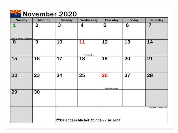 November 2020 Calendar, with the holidays of Arizona. Free printable calendar with public holidays.