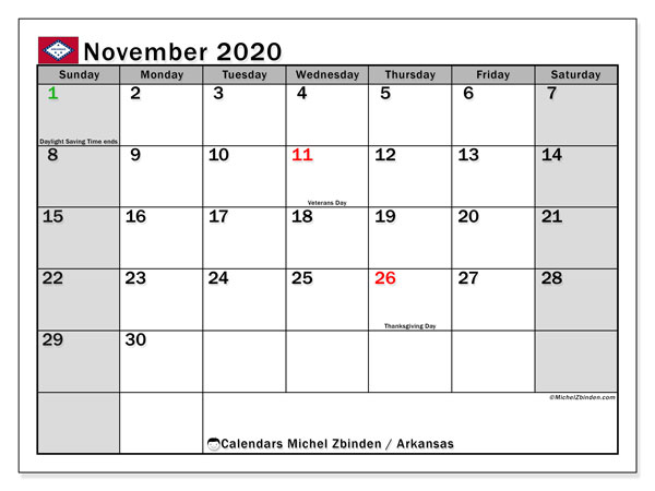 November 2020 Calendar, with the holidays of Arkansas. Free printable calendar with public holidays.