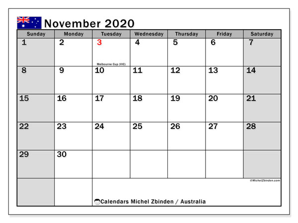 November 2020 Calendar, with the holidays of Australia. Free printable calendar with public holidays.