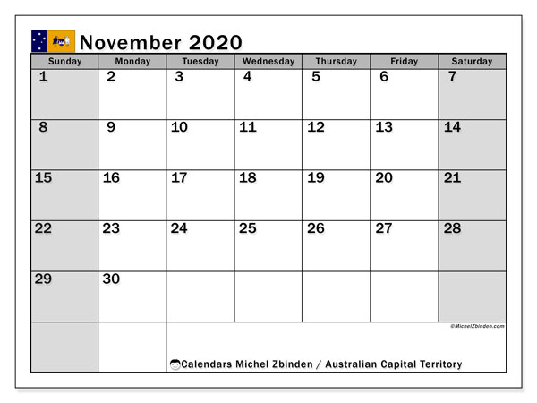 November 2020 Calendar, with the holidays of Australian Capital Territory. Holidays calendar to print free.