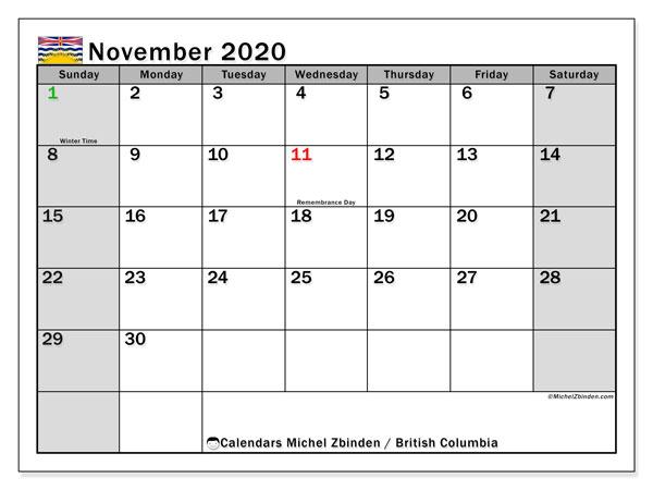 November 2020 Calendar, with the holidays of British Columbia. Holidays calendar to print free.