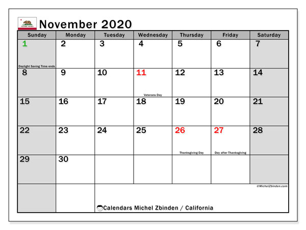 November 2020 Calendar, with the holidays of California. Free printable calendar with public holidays.