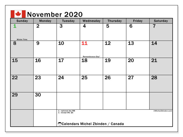 November 2020 Calendar, with the holidays of Canada. Free printable calendar with public holidays.