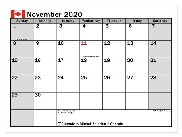 November 2020 Calendar, with the holidays of Canada. Holidays calendar to print free.
