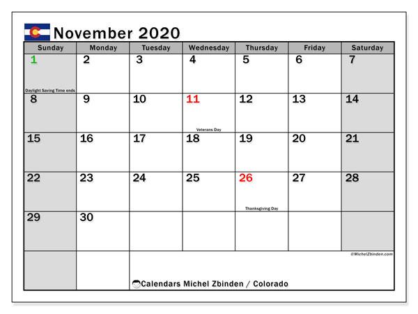 November 2020 Calendar, with the holidays of Colorado. Holidays calendar to print free.