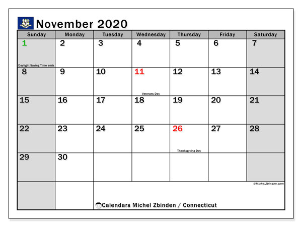 "Printable ""Connecticut"" calendar with public holidays. Monthly November 2020 calendar and planner to print free."