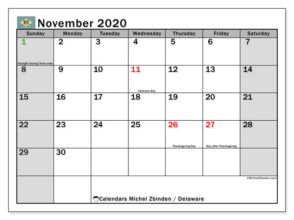 November 2020 Calendar, with the holidays of Delaware. Holidays calendar to print free.