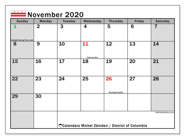 November 2020 Calendar, with the District of Columbia holidays. Holidays calendar to print free.