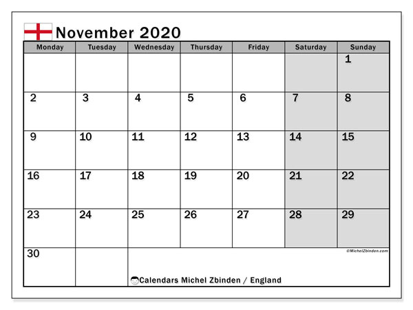 November 2020 Calendar, with the holidays of England. Free printable calendar with public holidays.