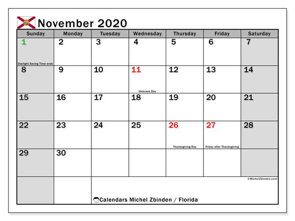 November 2020 Calendar, with the holidays of Florida. Holidays calendar to print free.
