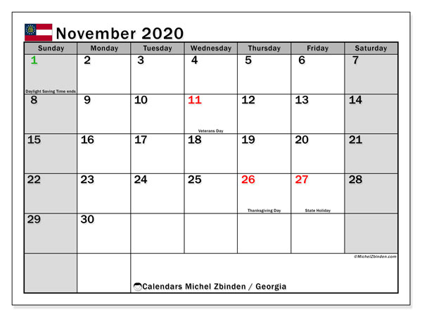 November 2020 Calendar, with the holidays of Georgia. Holidays calendar to print free.