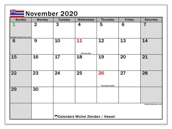 November 2020 Calendar, with the Hawaii holidays. Free printable calendar with public holidays.