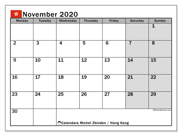November 2020 Calendar, with the holidays of Hong Kong. Free printable calendar with public holidays.