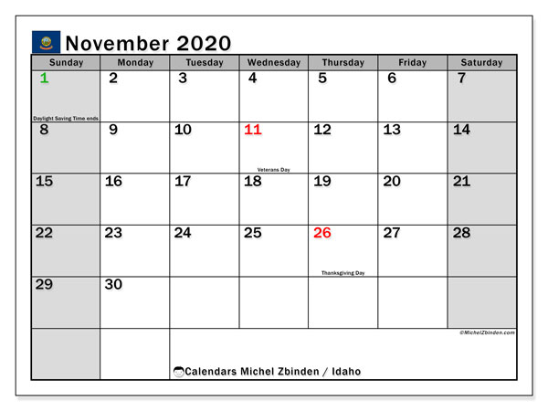 November 2020 Calendar, with the holidays of Idaho. Holidays calendar to print free.