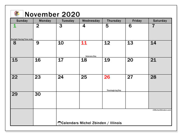 November 2020 Calendar, with the holidays of Illinois. Free printable calendar with public holidays.
