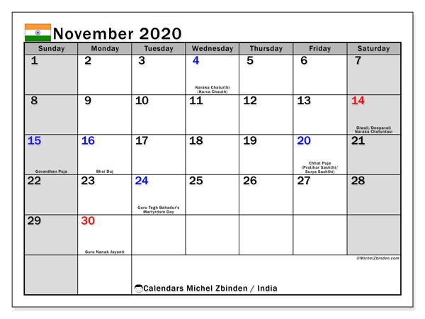 November 2020 Calendar, with the holidays of India. Holidays calendar to print free.