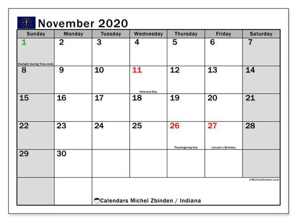 November 2020 Calendar, with the holidays of Indiana. Holidays calendar to print free.