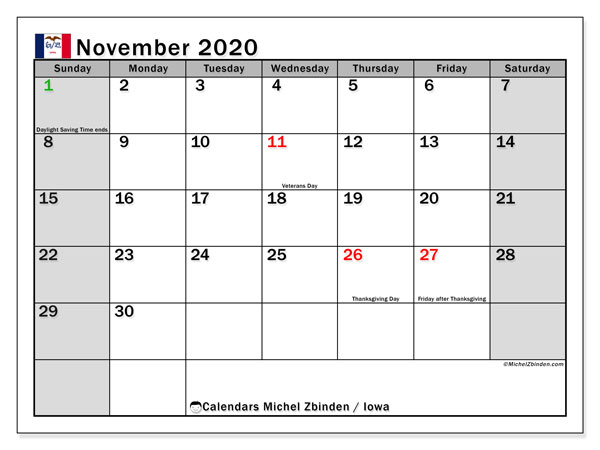 November 2020 Calendar, with the holidays of Iowa. Holidays calendar to print free.