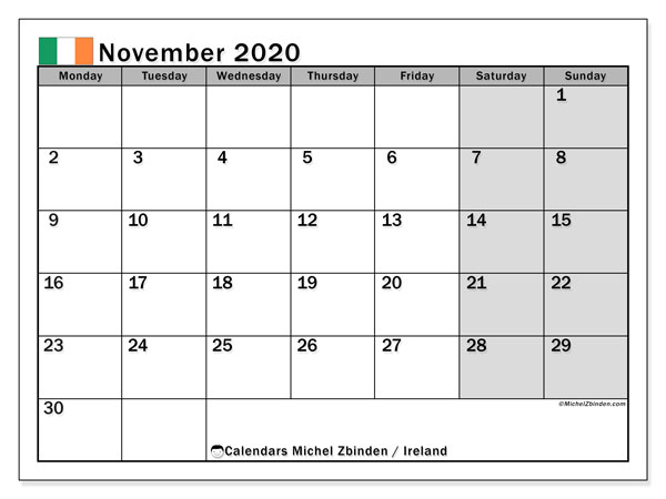 Calendar November 2020, with the holidays of Ireland. Free calendar to print.