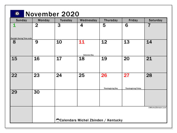 November 2020 Calendar, with the holidays of Kentucky. Free printable calendar with public holidays.