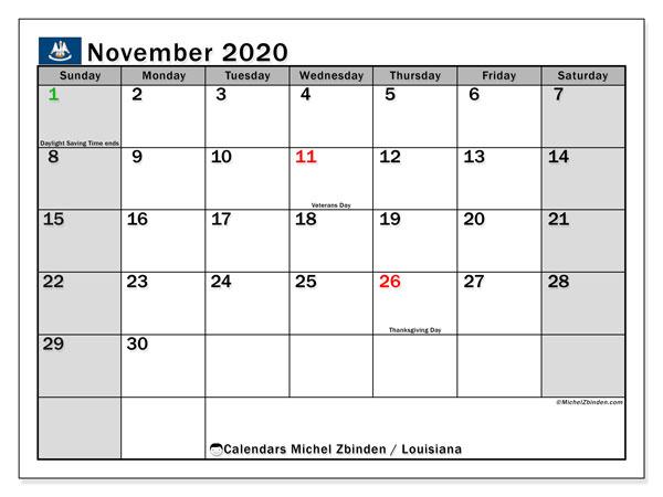 November 2020 Calendar, with the holidays of Louisiana. Holidays calendar to print free.