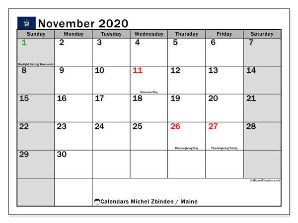 "Printable ""Maine"" calendar with public holidays. Monthly November 2020 calendar and free printable bullet journal."