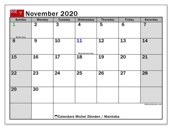 November 2020 Calendar, with the holidays of Manitoba. Holidays calendar to print free.