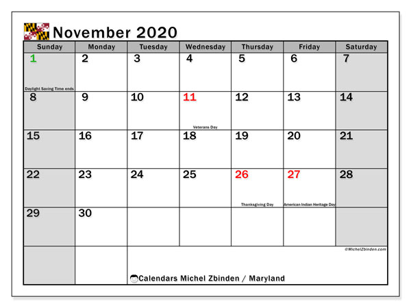 November 2020 Calendar, with the holidays of Maryland. Free printable calendar with public holidays.